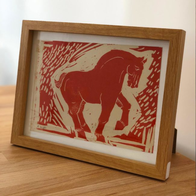 Cheval Tang 01 Rouge - linogravure - 2018
