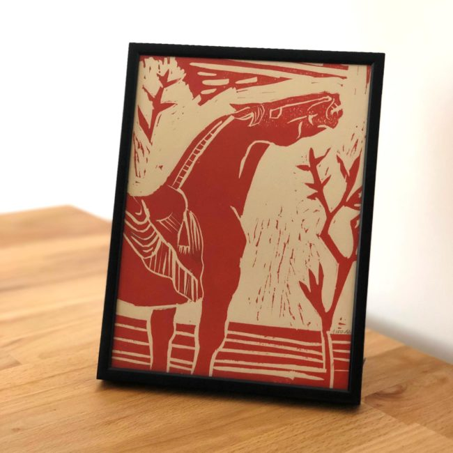 Cheval Tang 04 Rouge - linogravure - 2018